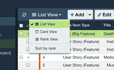 List View and Card View | Axosoft Documentation